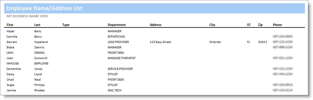 Employee NameAddress List – Address List